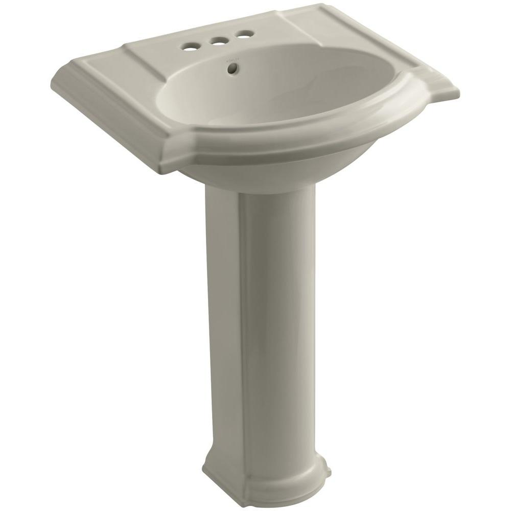 KOHLER Devonshire Vitreous China Pedestal Combo Bathroom Sink with 4 in. Centerset Faucet Holes in Sandbar with Overflow Drain