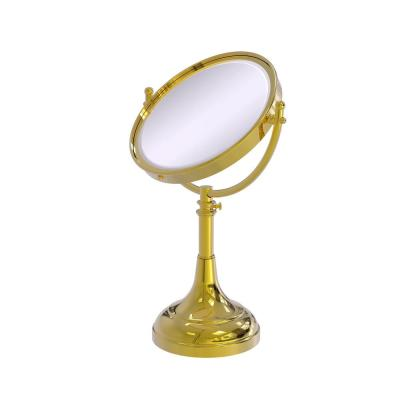 8 in. x 23.5 in. x 5 in. Vanity Top Makeup Mirror 2X Magnification in Polished Brass
