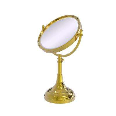 8 in. x 23.5 in. x 5 in. Vanity Top Make-Up Mirror 2X Magnification in Polished Brass