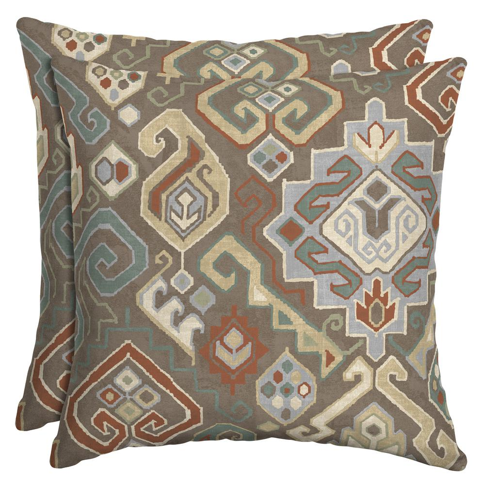 Southwestern Print Throw Pillows : Hampton Bay Southwestern Saddle Square Outdoor Throw Pillow (2-Pack)-TG0V554B-D9D2 - The Home Depot