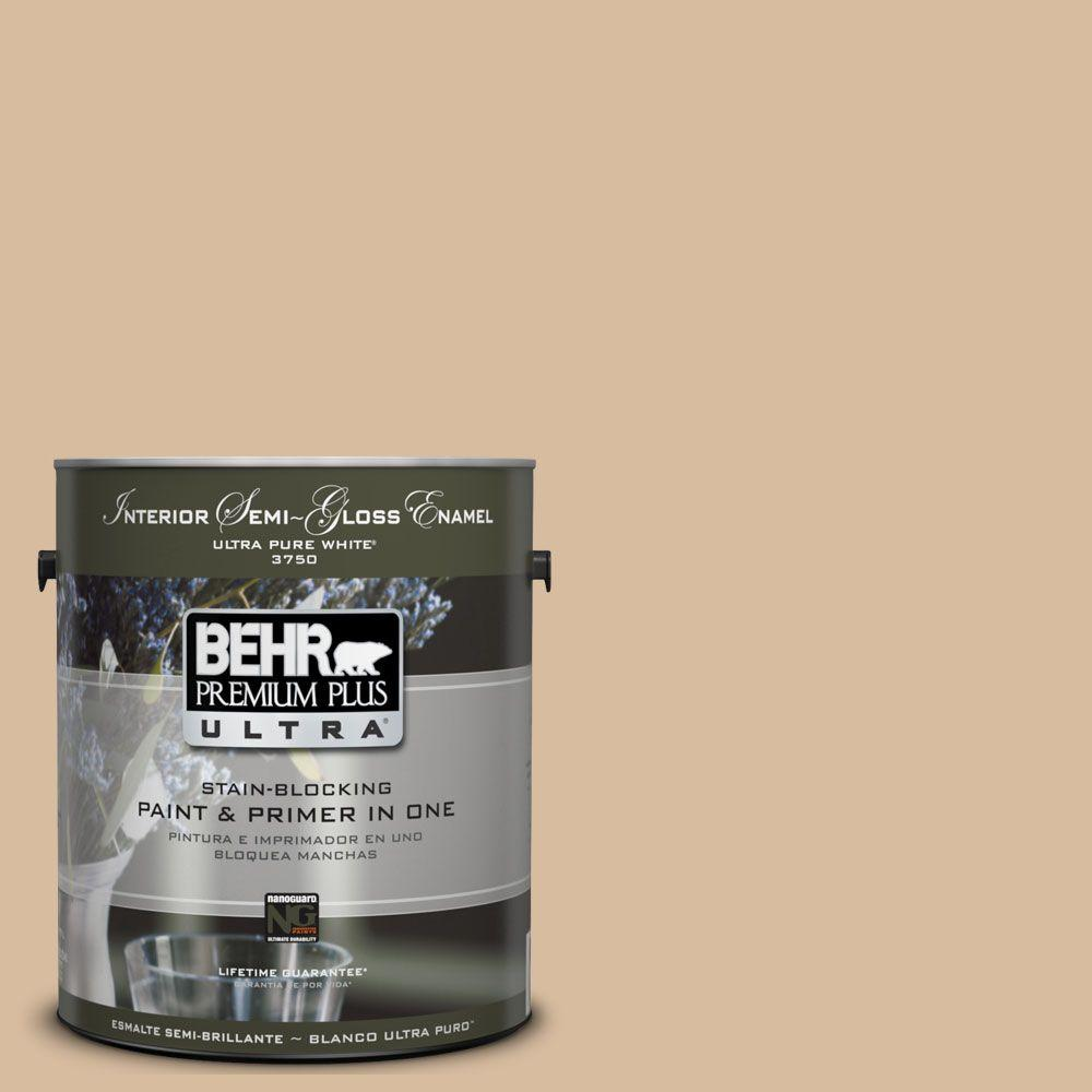 BEHR Premium Plus Ultra 1-gal. #UL140-17 Renoir Bisque Interior Semi-Gloss Enamel Paint