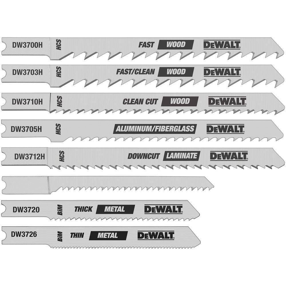 u shank jigsaw blades. dewalt hcs/hss jig saw blade set (8-piece) u shank jigsaw blades