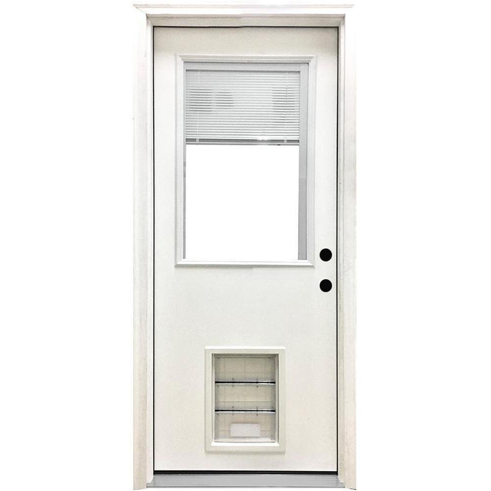 32 in. x 80 in. Classic Clear Mini-Blind LHIS White Primed Fiberglass Prehung Front Door with XL Pet Door