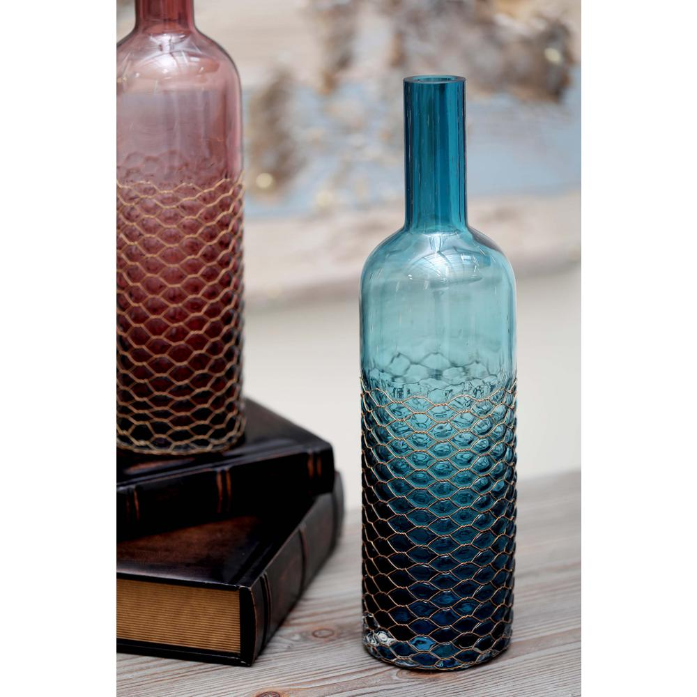 Litton Lane 17 in. Honeycomb Glass Decorative Bottle in Teal-53076 ...