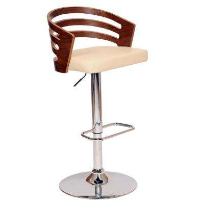 Adele 44 in. Cream Faux Leather and Chrome Finish Swivel Barstool