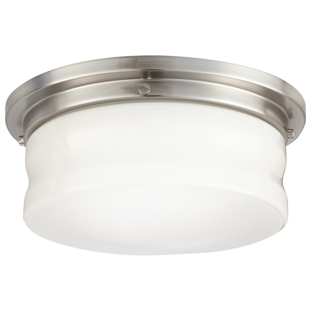 Home Decorators Collection 13 In Brushed Nickel Led Flushmount 23951 The Home Depot