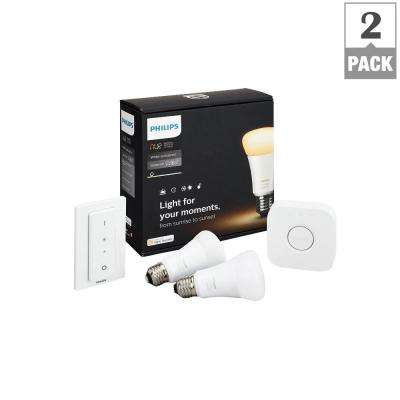 Hue White Ambiance A19 LED 60W Equiv Dimmable Smart Wireless Lighting Starter Kit (2 Bulbs, Bridge, Dim. Switch)