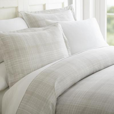 Thatch Patterned Performance Gray Queen 3-Piece Duvet Cover Set