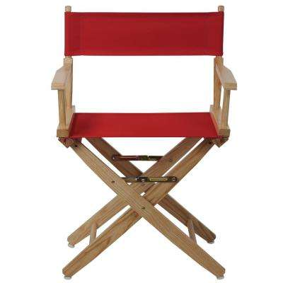 Extra-Wide 18 in. Natural Frame/Red Canvas American Hardwood Director's Chair