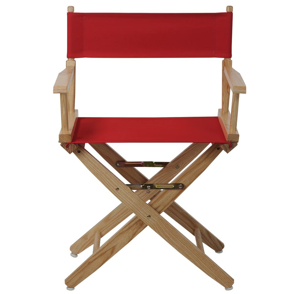American Trails Extra Wide 18 In. Natural Frame/Red Canvas American  Hardwood Directoru0027s