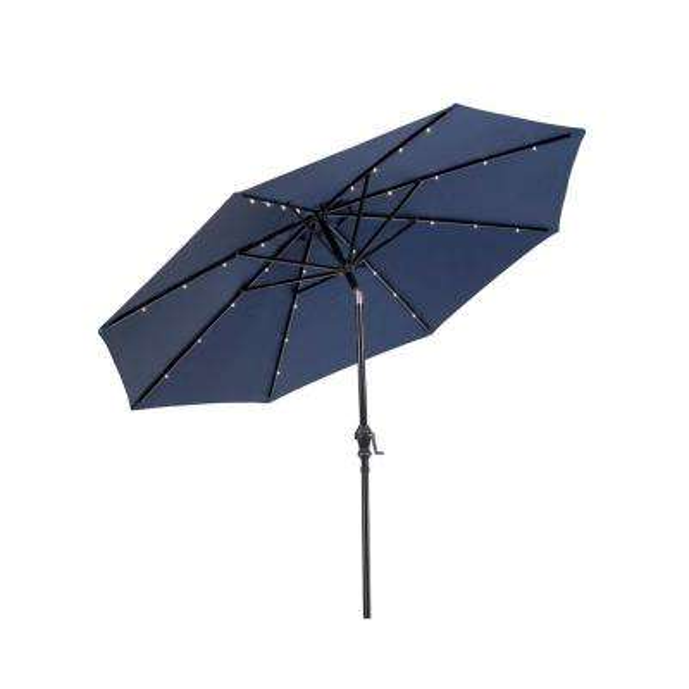 9 ft. Round Solar Lighted Market Patio Umbrella in Navy