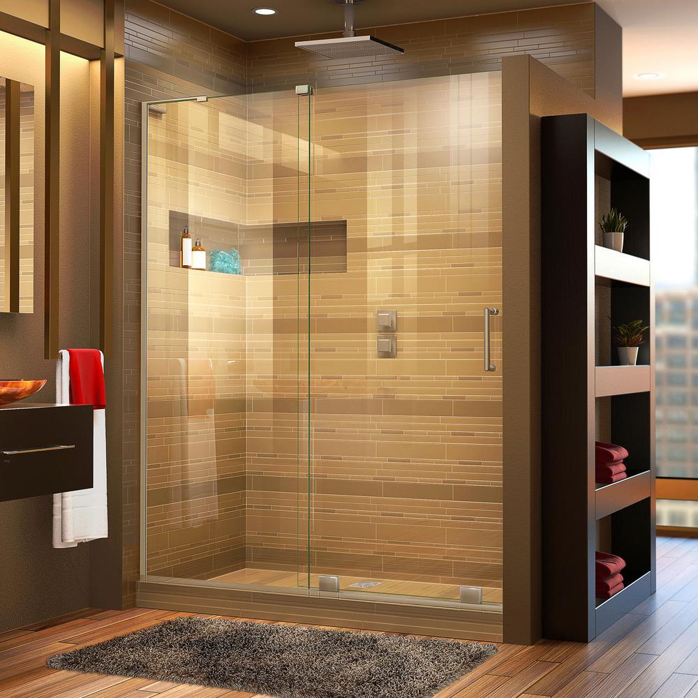 Mirage-X 56 in. to 60 in. x 72 in. Semi-Frameless Sliding Shower Door in Brushed Nickel