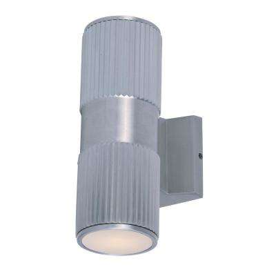 Lightray 4 in. W 2-Light Brushed Aluminum Outdoor Wall Lantern Sconce