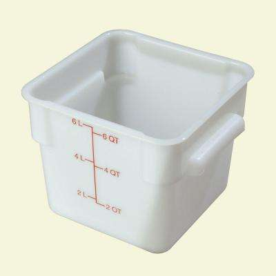 6 qt. Polyethylene Square Food Storage Container in White, Lid not Included (Case of 6)