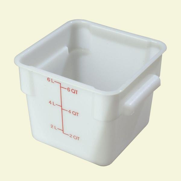 Carlisle 6 qt. Polyethylene Square Food Storage Container in White, Lid