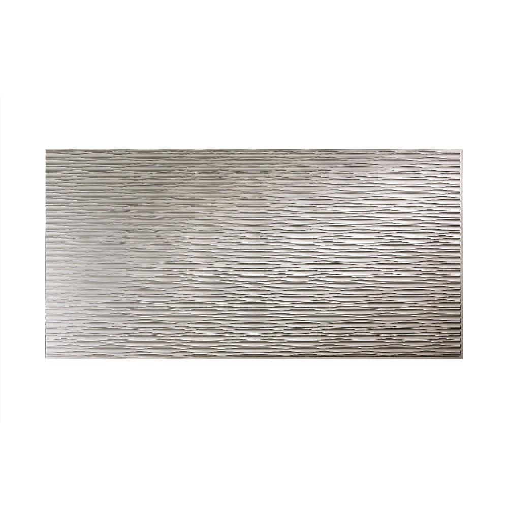 Fasade Dunes Horizontal 96 in. x 48 in. Decorative Wall Panel in Argent Silver