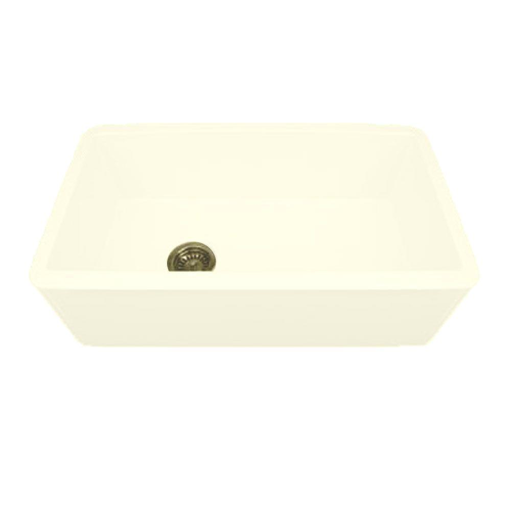 Whitehaus Collection Duet Reversible Apron Front Fireclay 30 in. Single Bowl Kitchen Sink in Biscuit