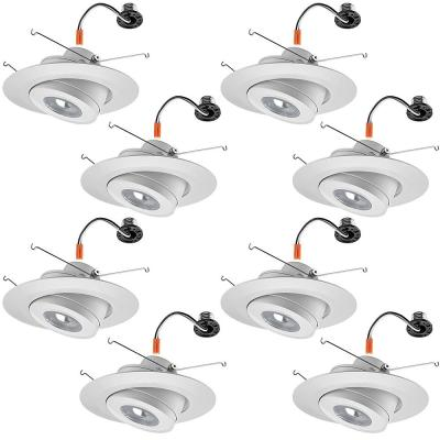 6 in. 3000K Integrated LED Recessed Trim Gimbal Light with Adjustable Beam Angle and Bulb Direction 670 Lumens (8 Pack)