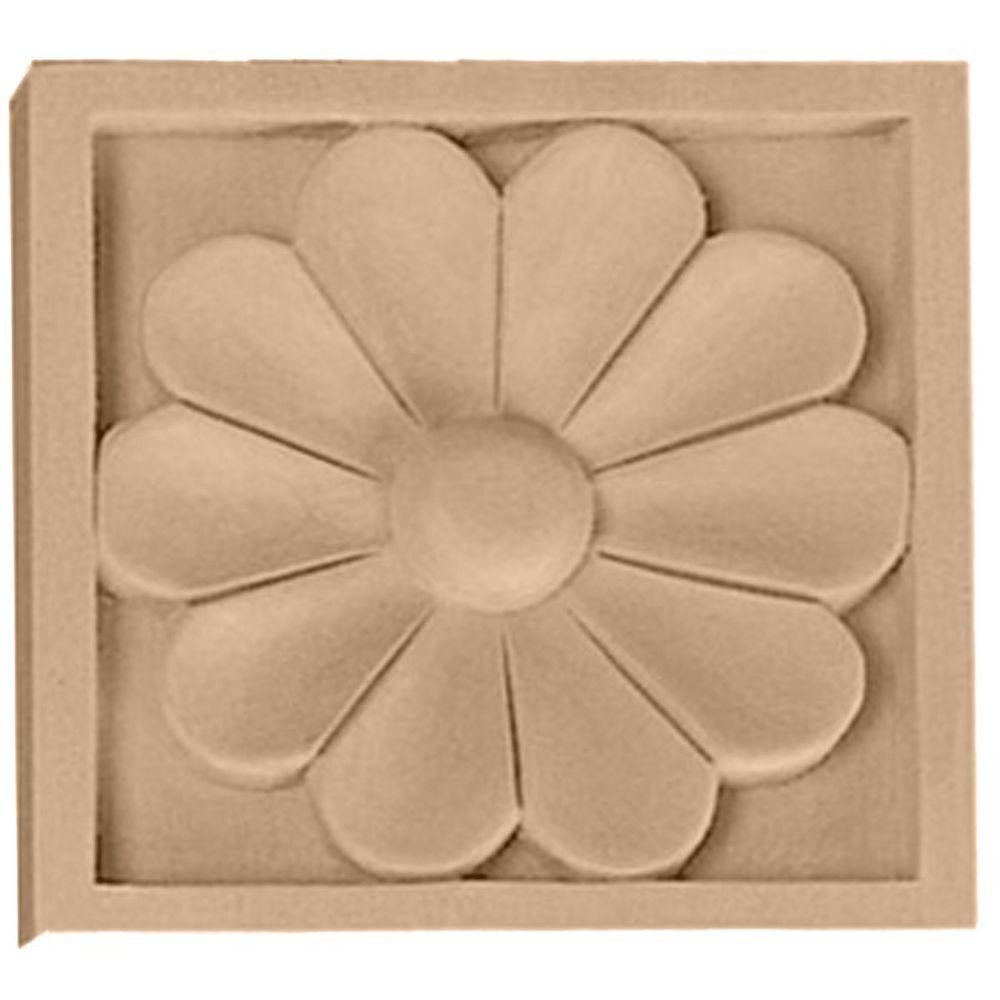 Ekena Millwork 3/4 in. x 3-1/2 in. x 3-1/2 in. Unfinished Wood Lindenwood Medium Medway Rosette