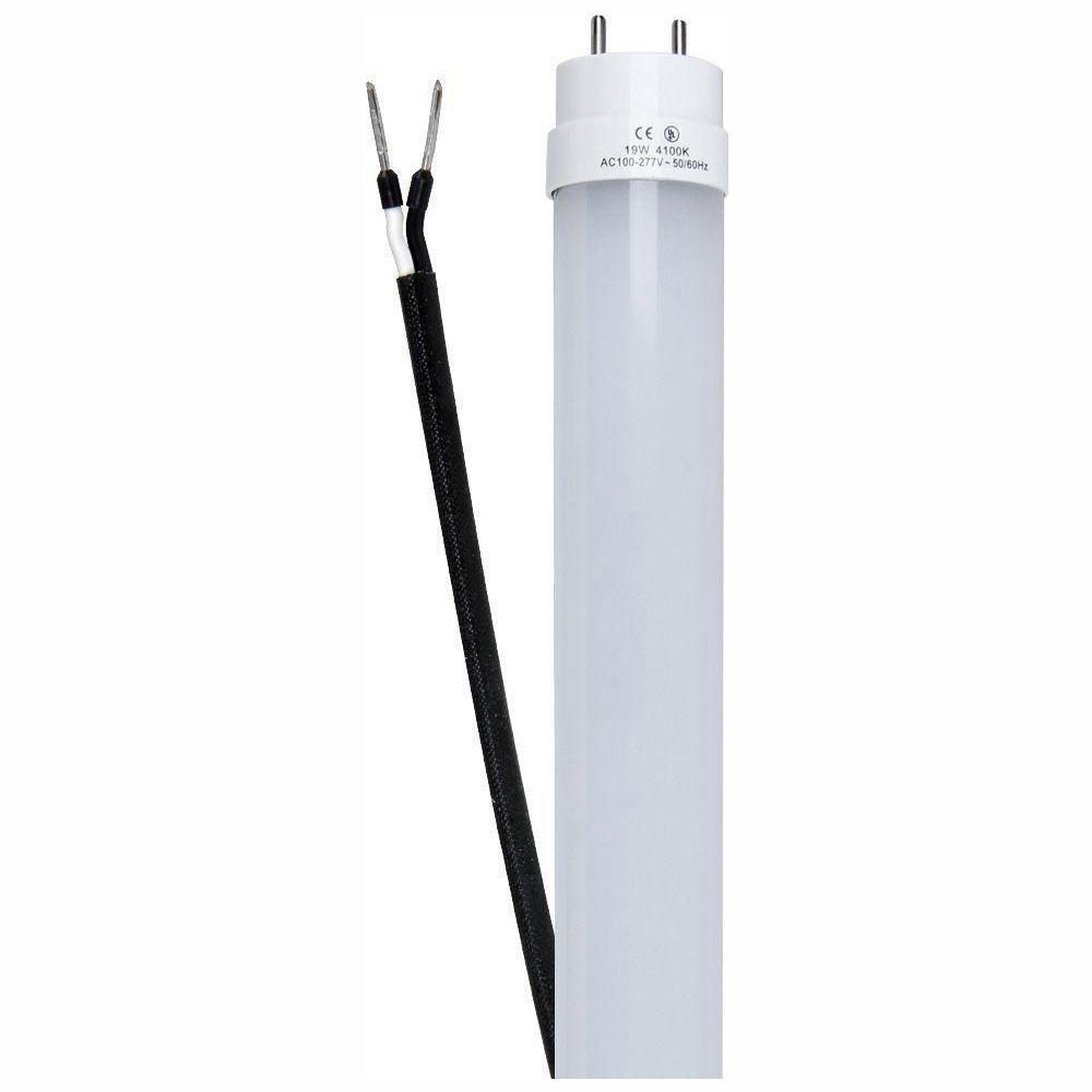 4 ft. 19-Watt T8/T12 32W/40W Equivalent Cool White (4100K) G13 Ballast Bypass Linear LED Tube Light Bulb (12-Pack)