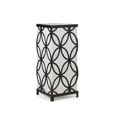 14 in. Black Uplight Lamp with Laser Cut White Shade