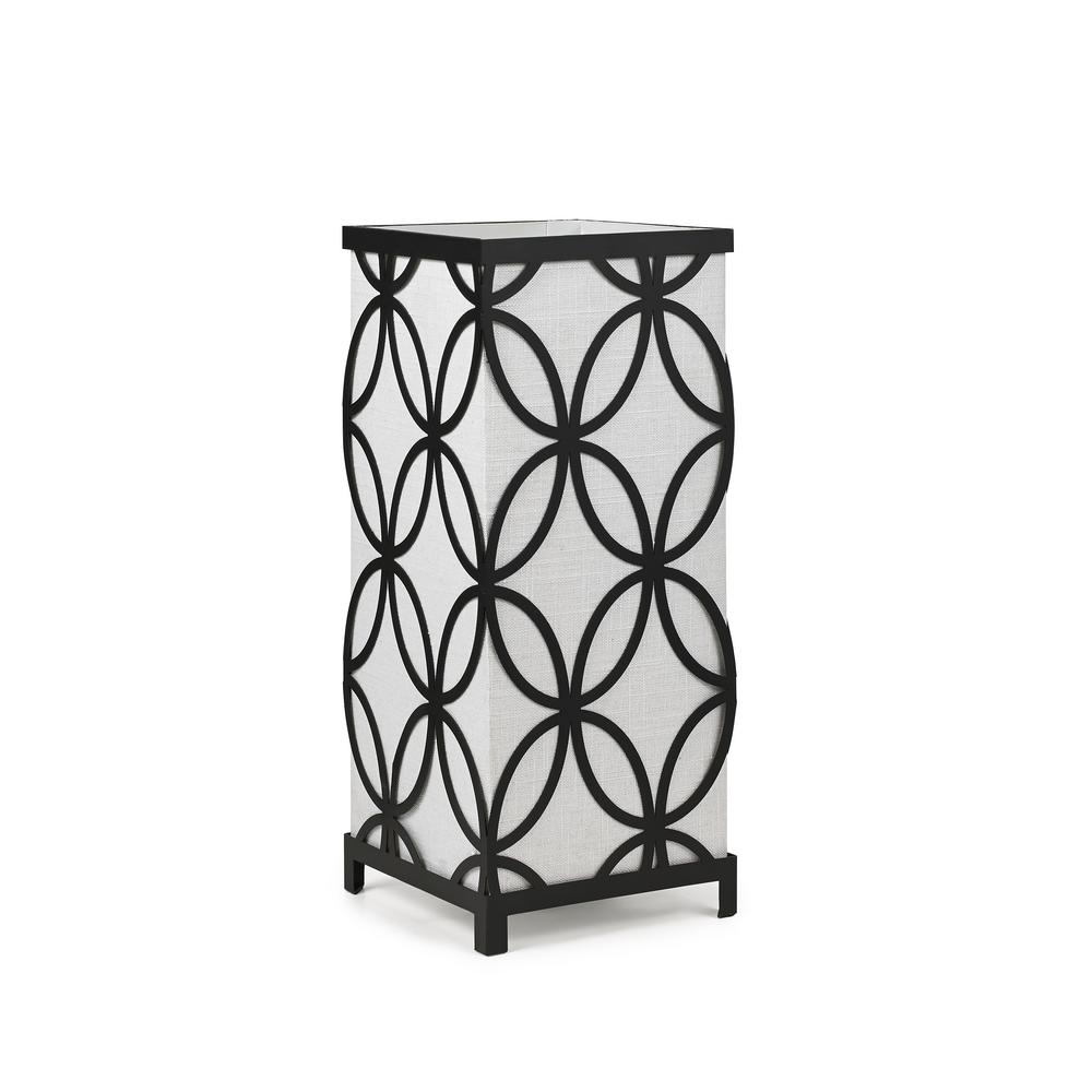 Catalina Lighting 14 in. Black Uplight Lamp with Laser Cut White ...