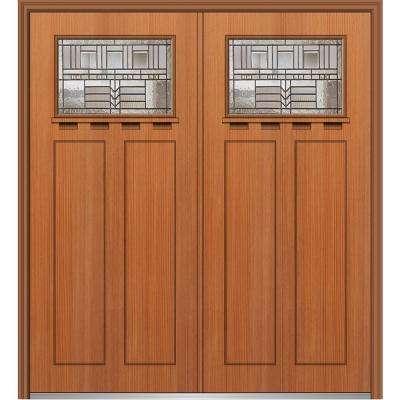 64 in. x 80 in. Oak Park Right-Hand Inswing 1/4-Lite Decorative Stained Fiberglass Fir Prehung Front Door with Shelf