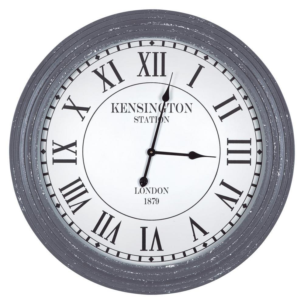 Kensington Station Distressed Grey Ribbed Wall Clock