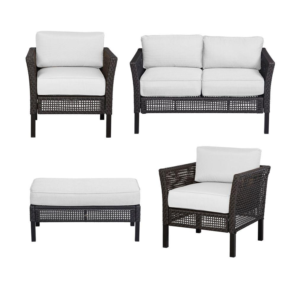 Hampton Bay Fenton 4 Piece Patio Seating Set With Cushion Insert (Slipcovers  Sold Separately