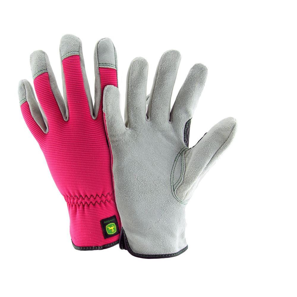 John Deere Split Cowhide Ladies Small Spandex Back Gloves