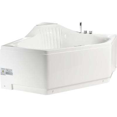 60 in. Acrylic Right Drain Corner Apron Front Whirlpool Bathtub in White