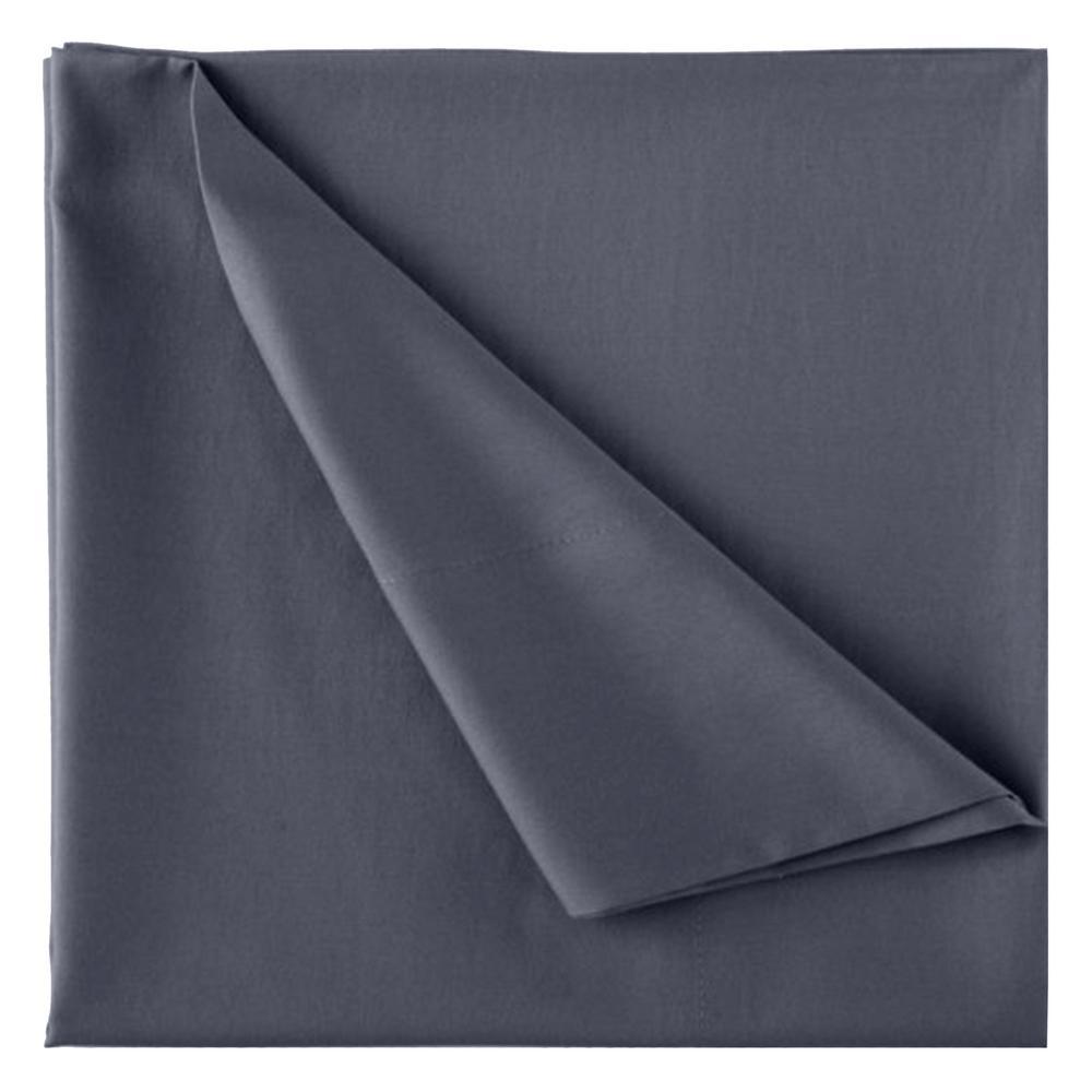 Wrinkle Resistant Dark Grey 300TC 100% Organic Cotton King Flat Sheet