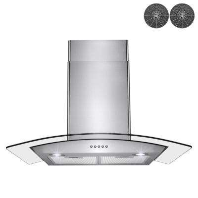 30 in. 343 CFM Convertible Wall Mount Range Hood in Stainless Steel with LEDs, Push Control and Carbon Filters