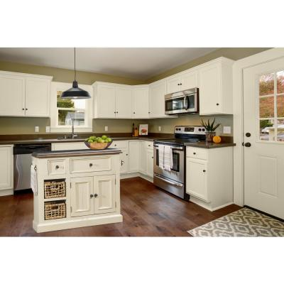Tuscan Retreat Country White Medium Granite Top Kitchen Island with 2-Baskets