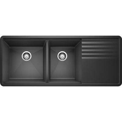 PRECIS Undermount Granite Composite 48 in. 60/40 Double Bowl Kitchen Sink with Drainer in Anthracite