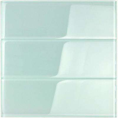 Contempo Seafoam 4 in. x 12 in. x 8mm Polished Glass Subway Wall Tile (1 sq. ft.) (15 pieces 5 sq.ft/Box)