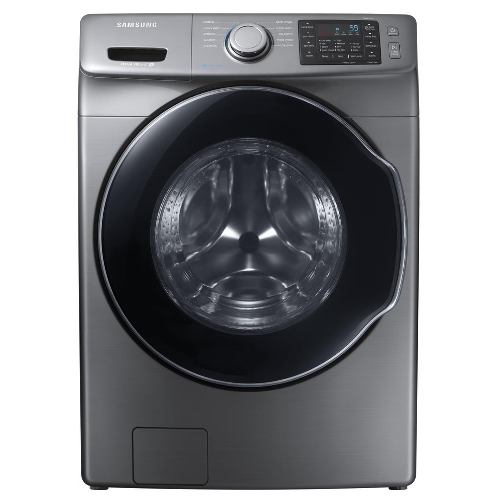 Samsung 4 5 Cu Ft High Efficiency Front Load Washer With Steam In Platinum