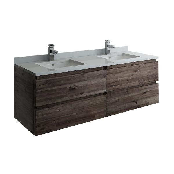 Formosa 60 in. Modern Double Wall Hung Vanity in Warm Gray with Quartz Stone Vanity Top in White with White Basins
