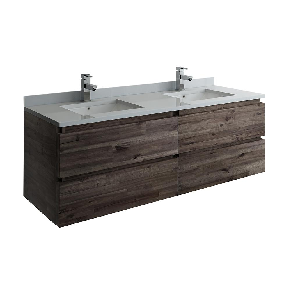 Fresca Formosa 58 in. W Modern Double Wall Hung Vanity Cabinet Only in Warm Gray