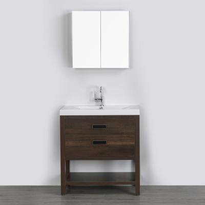 31.5 in. W x 32.4 in. H Bath Vanity in Brown with Resin Vanity Top in White with White Basin and Mirror