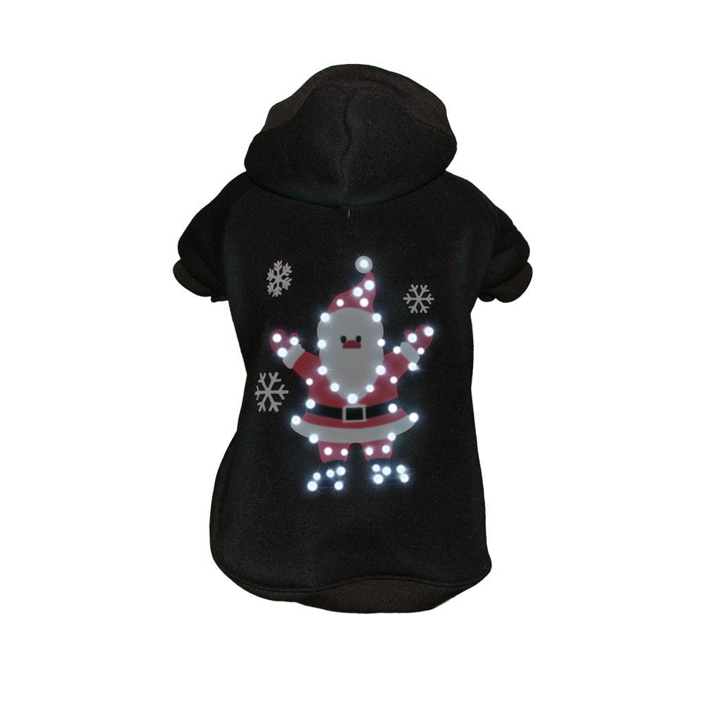 Medium Black LED Lighting Juggling Santa Hooded Sweater Pet Hoodie