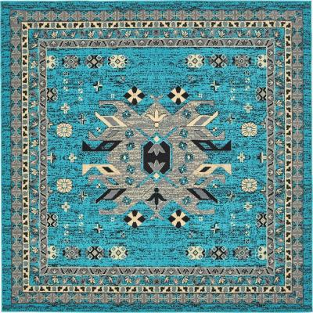 Taftan Oasis Turquoise 8' 0 x 8' 0 Square Rug