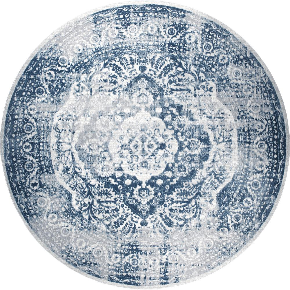 Home Dynamix Kenmare Gray Blue 5 Ft 2 In Round Indoor