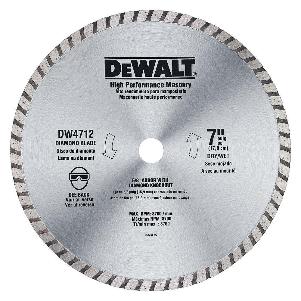 Dewalt 7 in high performance masonry blade dw4712b the home depot high performance masonry blade greentooth Gallery