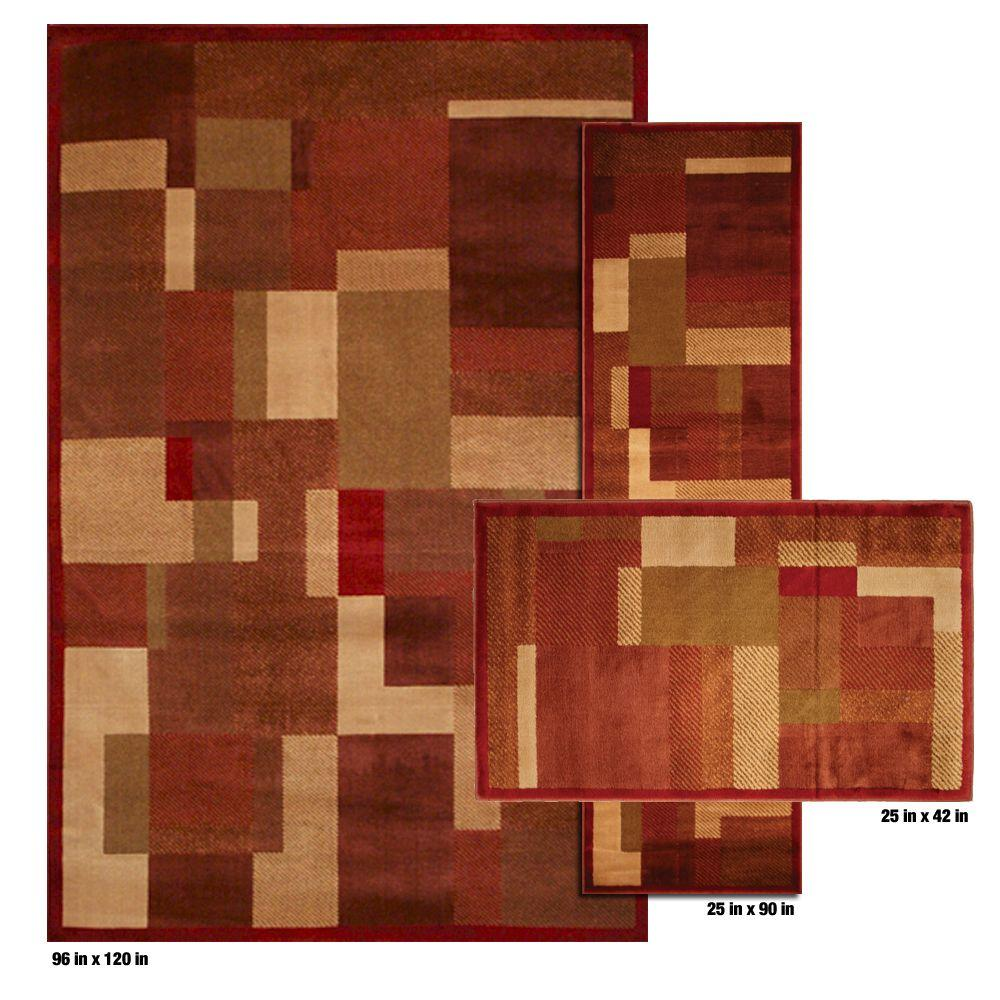 Mohawk Home Timmins Rust 8 ft. x 10 ft. 3 Piece Rug Set-DISCONTINUED