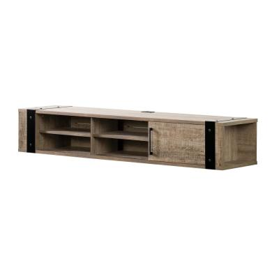 Munich 68 in. Weathered Oak Particle Board Floating TV Stand 68 in. with Adjustable Shelves
