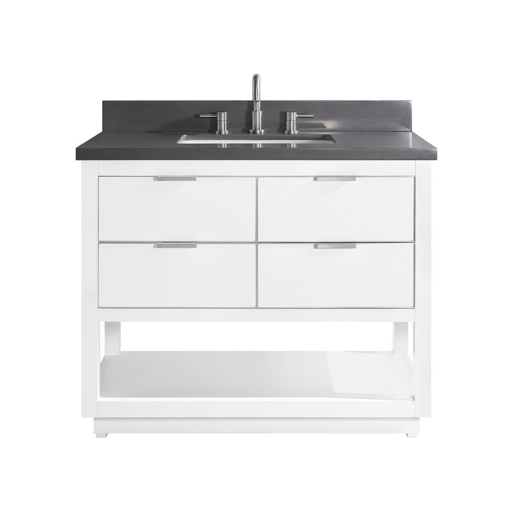 Avanity Allie 43 in. W x 22 in. D Bath Vanity in White with Silver Trim with Quartz Vanity Top in Gray with White Basin