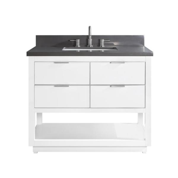 Allie 43 in. W x 22 in. D Bath Vanity in White with Silver Trim with Quartz Vanity Top in Gray with White Basin