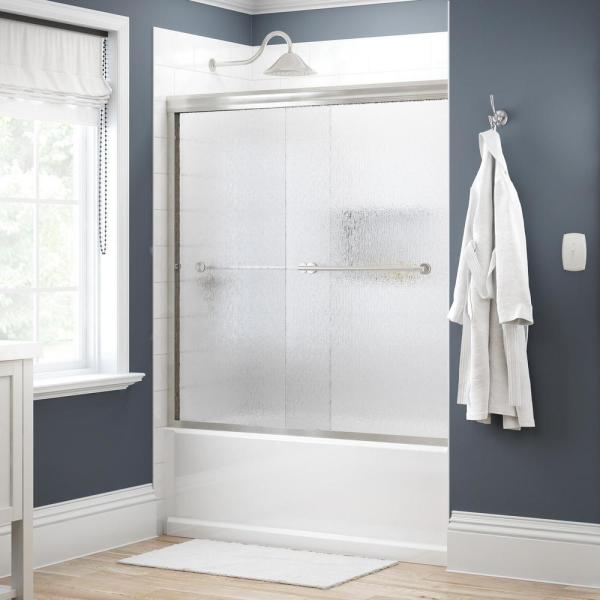 Crestfield 60 in. x 58-1/8 in. Traditional Semi-Frameless Sliding Bathtub Door in Nickel and 1/4 in. (6mm) Rain Glass