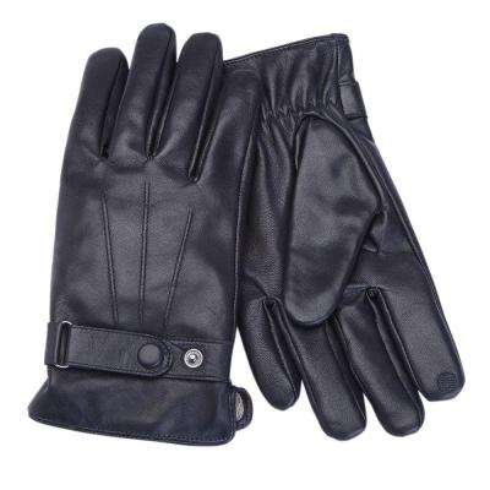Premium Lambskin Men's Extra Large Black Leather Touchscreen Gloves